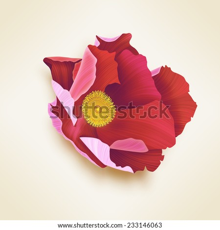 Beautiful retro Red flower card. Isolated background. With shadow. Stylish and vintage floral. - stock photo