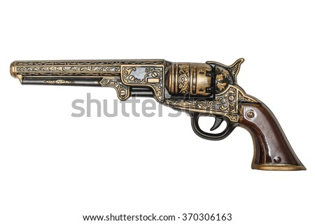 beautiful revolver isolated  - stock photo
