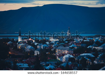 Beautiful Reykjavik Night View Panorama - stock photo
