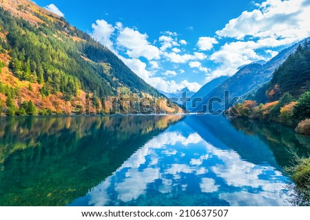 beautiful rhino lake in autumn jiuzhaigou valley national park , China  - stock photo