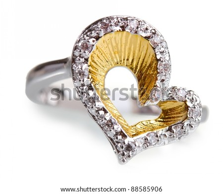 beautiful ring with precious stones isolated on white - stock photo
