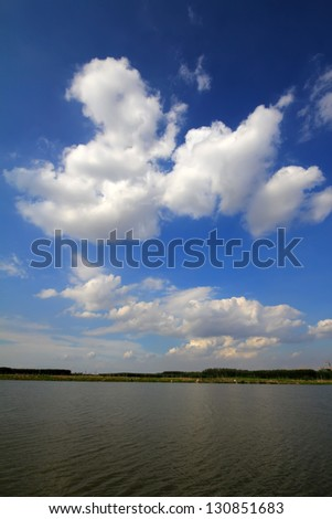 beautiful river natural scenery in north China - stock photo