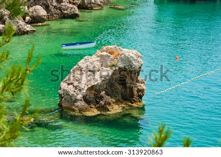 beautiful rock in Brela, Croatia - stock photo