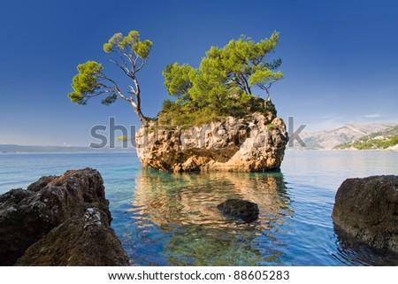beautiful rock in brela, croatia - stock photo