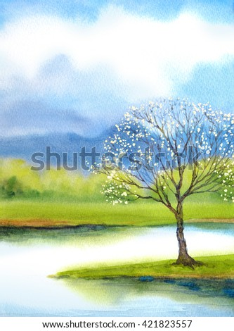 Beautiful romantic bright watercolour scene in japanese handmade style on paper backdrop with space for text. Blue heaven over wild lush white flourish apple seedling on mist island on quiet stream  - stock photo