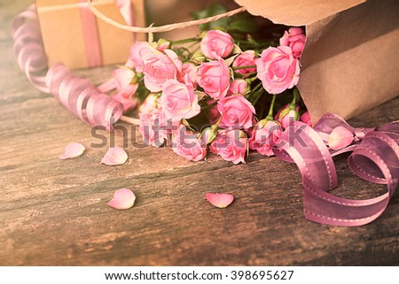 Beautiful romantic composition with flowers. St. Valentines Day concept - stock photo