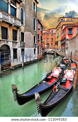beautiful romantic Venetian scenery - stock photo