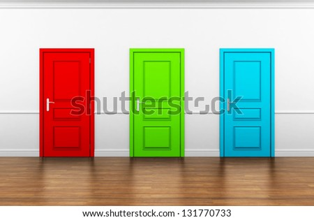 beautiful room with three doors - stock photo