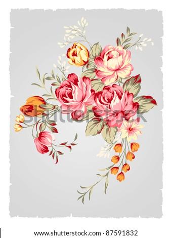 beautiful Rose bouquet design-Simple background - stock photo
