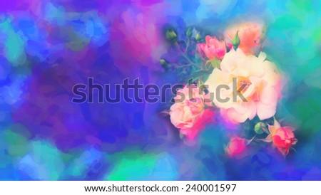 Beautiful rose flowers. Imitation of watercolor drawing - stock photo