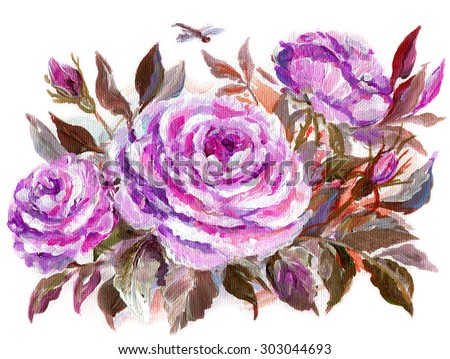 Beautiful Roses and dragonfly. Original oil painting on a canvas isolated on white background - stock photo