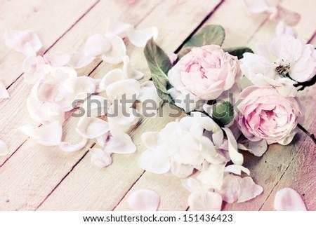 Beautiful roses on wooden background/holidays romantic background - stock photo