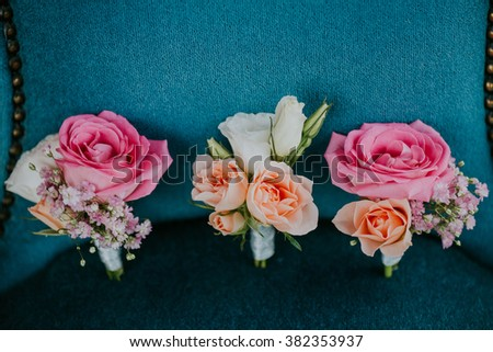 beautiful roses wedding boutonniere - stock photo