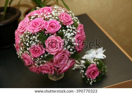 beautiful round Bridal bouquet of roses - stock photo