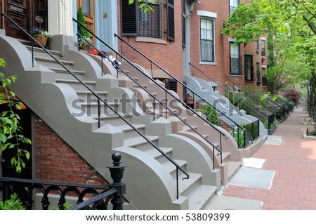 Beautiful row house facades, Victorian architecture of Boston - stock photo