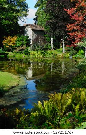 Beautiful royal garden of Courances castle, France - stock photo