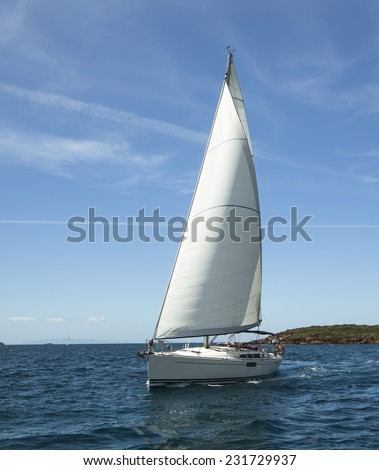 Beautiful sailboat on the Sea. Luxury yacht. - stock photo