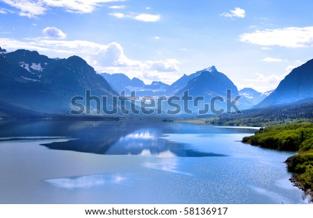 Beautiful Saint Mary Lake in Glacier national park - stock photo