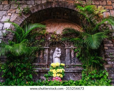 Beautiful Saint Mary Statue in Fortaleza do Monte, Macau - stock photo