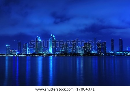 Beautiful San Diego skyline view at night - stock photo