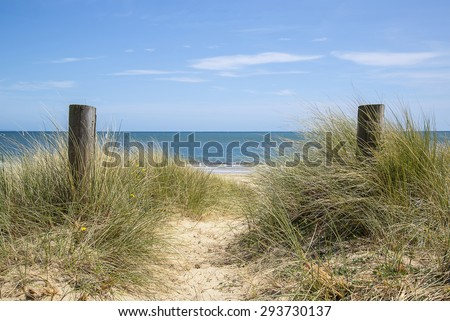 Beautiful sand dunes and beach landscape on sunny Summer day - stock photo