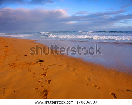 Beautiful sandy beach along the Pacific coastline of Warrnambool Australia - stock photo