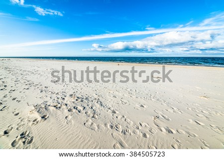 Beautiful sandy beach landscape, Leba, Baltic Sea, Poland - stock photo