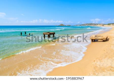 Beautiful sandy Chia beach and turquoise sea water, Sardinia island, Italy - stock photo