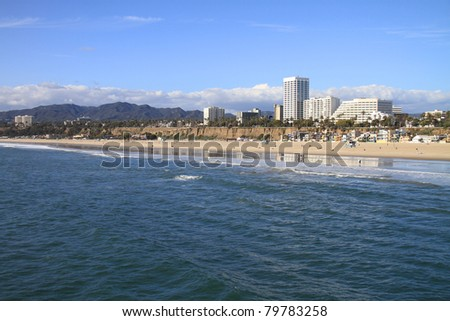 Beautiful Santa Monica beach and the Pacific Ocean - stock photo