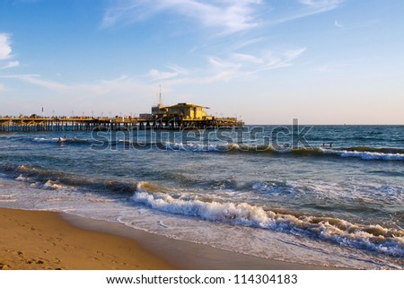Beautiful Santa Monica beach and the Pacific Ocean before sunset, Santa Monica near Los Angeles, California, USA - stock photo