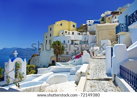 beautiful Santorini Oia town view - stock photo