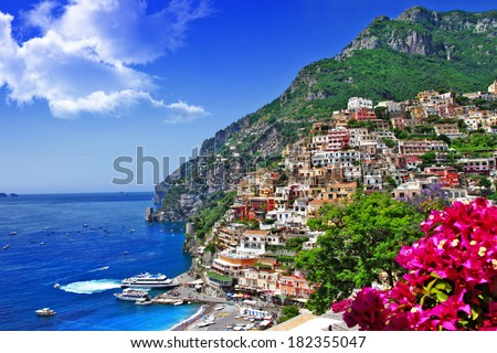 beautiful scenery of amalfi coast of Italy, Positano. - stock photo