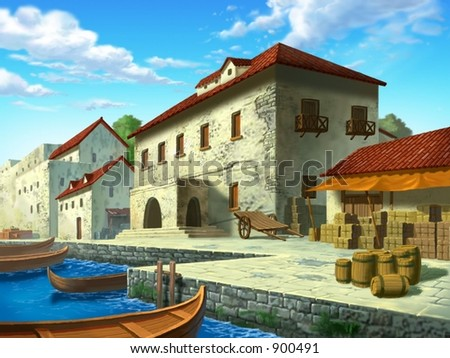 Beautiful Scenery of European Building Near River on a background of bright blue sky and white clouds : vector illustration - stock photo