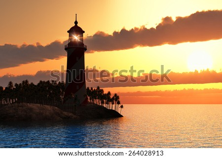 Beautiful scenery of red dramatic sunset with lighthouse on island in sea - stock photo