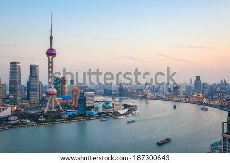 beautiful scenery of the huangpu river in shanghai at dusk ,China  - stock photo