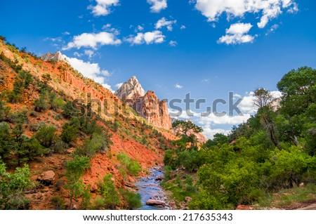 beautiful scenery of virgin river in zion national park utah - stock photo