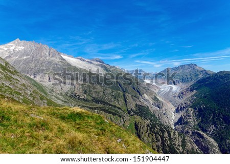 Beautiful scenery with the Aletsch glaciar in the Valais, Switzerland - stock photo