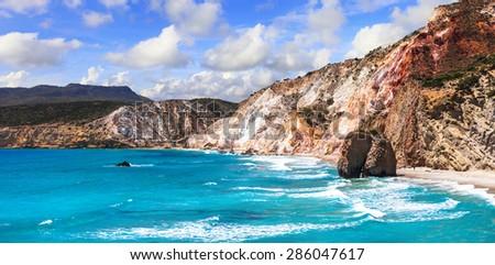 beautiful scenic beaches of Greek islands - Fyriplaka on Milos i - stock photo