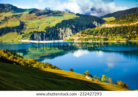 beautiful scenic lake in french mountains - stock photo
