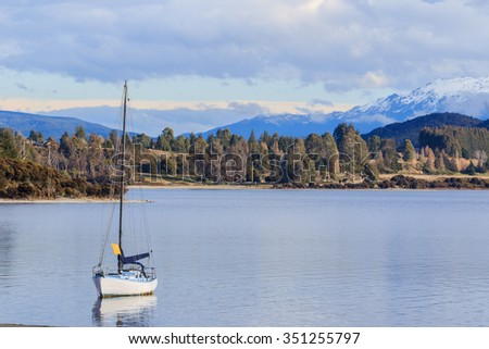 beautiful scenic of lake te anau south island new zealand important traveling destination of tourism - stock photo