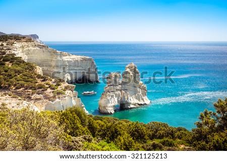 Beautiful scenic seascape view of Kleftiko rocky coastline on Milos island, Greece - stock photo