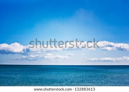 Beautiful sea and clouds sky - stock photo