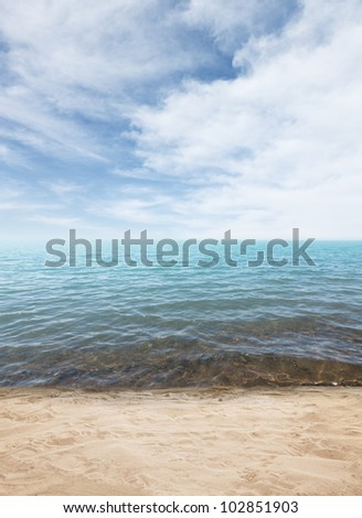 Beautiful sea and cloudy sky at summer day - stock photo