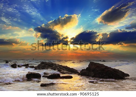Beautiful sea in the morning. - stock photo