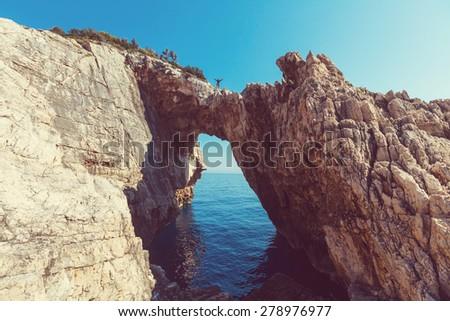 Beautiful sea landscapes on Zakynthos Island in Greece - stock photo