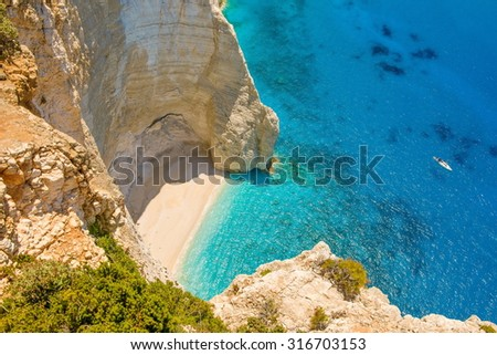 Beautiful sea landscapes on Zakynthos Island in Greece. Beautiful look over the bay. beautiful bay in the sea - stock photo
