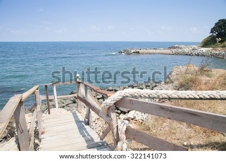 Beautiful sea summer landscape against the blue sky - stock photo