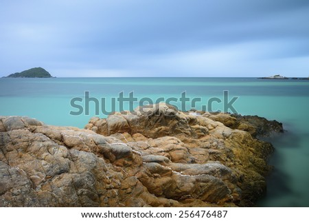 Beautiful sea with crystal clear water, Chonburi, Thailand. - stock photo