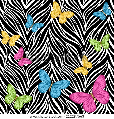 Beautiful seamless background. butterflies on animal zebra abstract print. Perfect for greeting cards and invitations of the wedding, birthday, mother's Day. Many similarities to the author's profile - stock photo