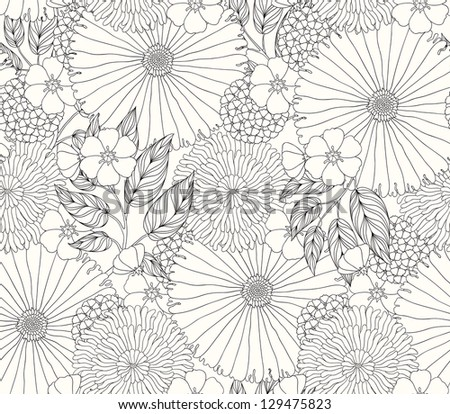 beautiful seamless pattern with flowers - raster copy - stock photo